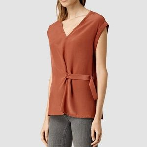 All Saints Kana V-neck Top Rust Brown Side Strap